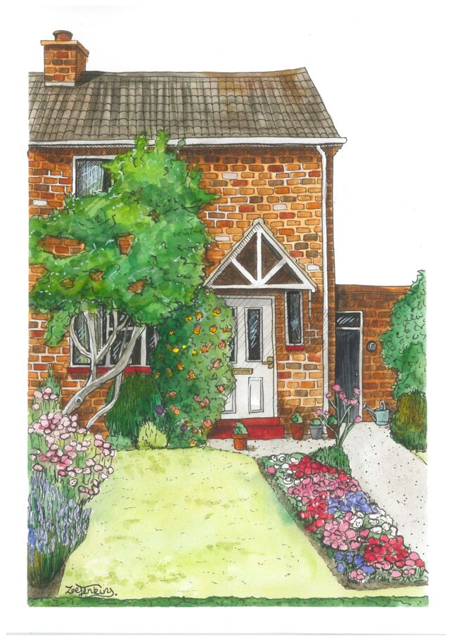 Cottage with Flowers Painting
