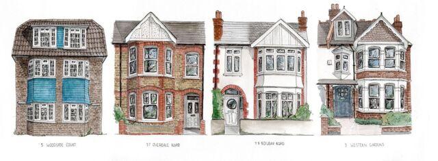 Four Houses London Water Colour