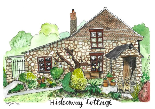 Old cottage watercolour painting