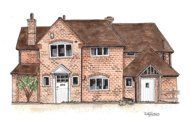 Farmhouse Portrait Watercolour