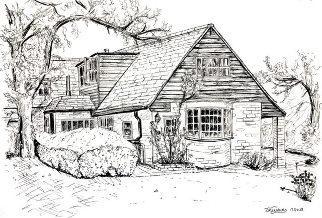 Black and white house line drawing