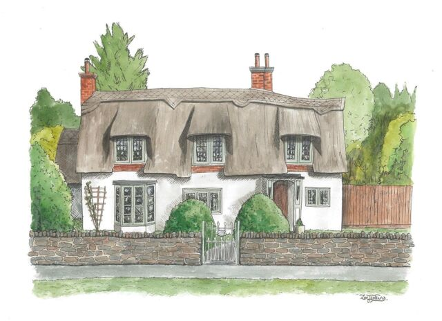 Cute Thatched Cottage Watercolour House Painting